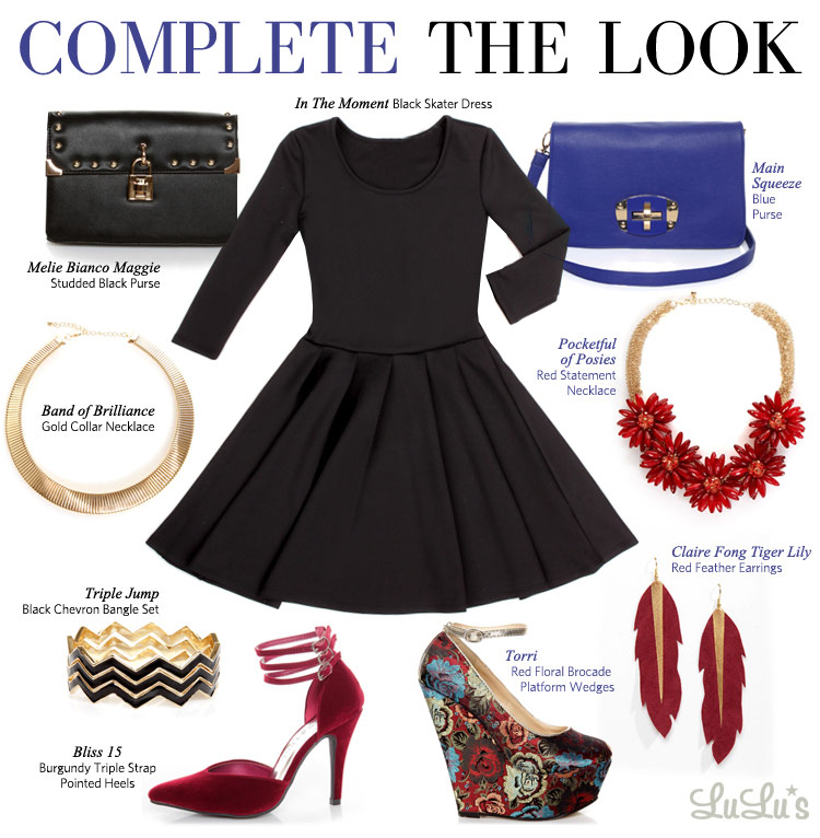 Black dress with red necklace and earring