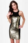 Act of Gold Black and Gold Sequin Dress
