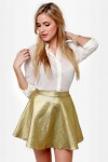 Smart Aleck Metallic Gold Mini Skirt