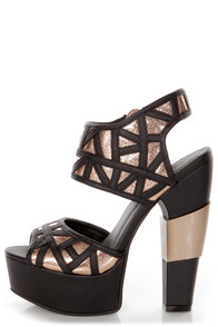 Michael Antonio Studio Tayson Black and Gold Platform Heels