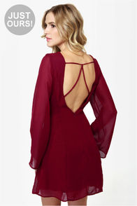 LULUS Exclusive Back in a Flash Burgundy Dress