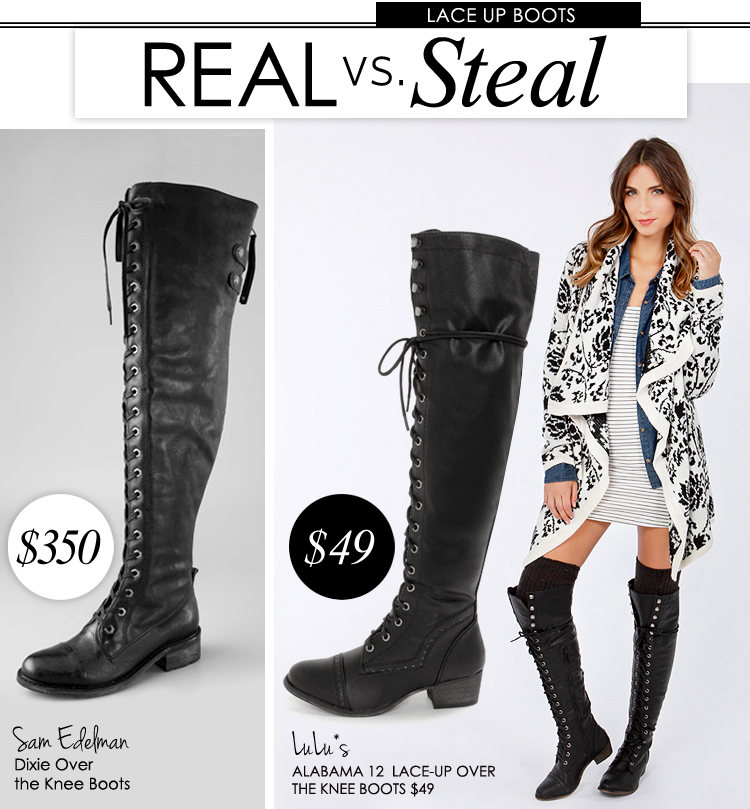 Real vs. Steal: Lace-Up Over the Knee Boots - Lulus.com Fashion Blog