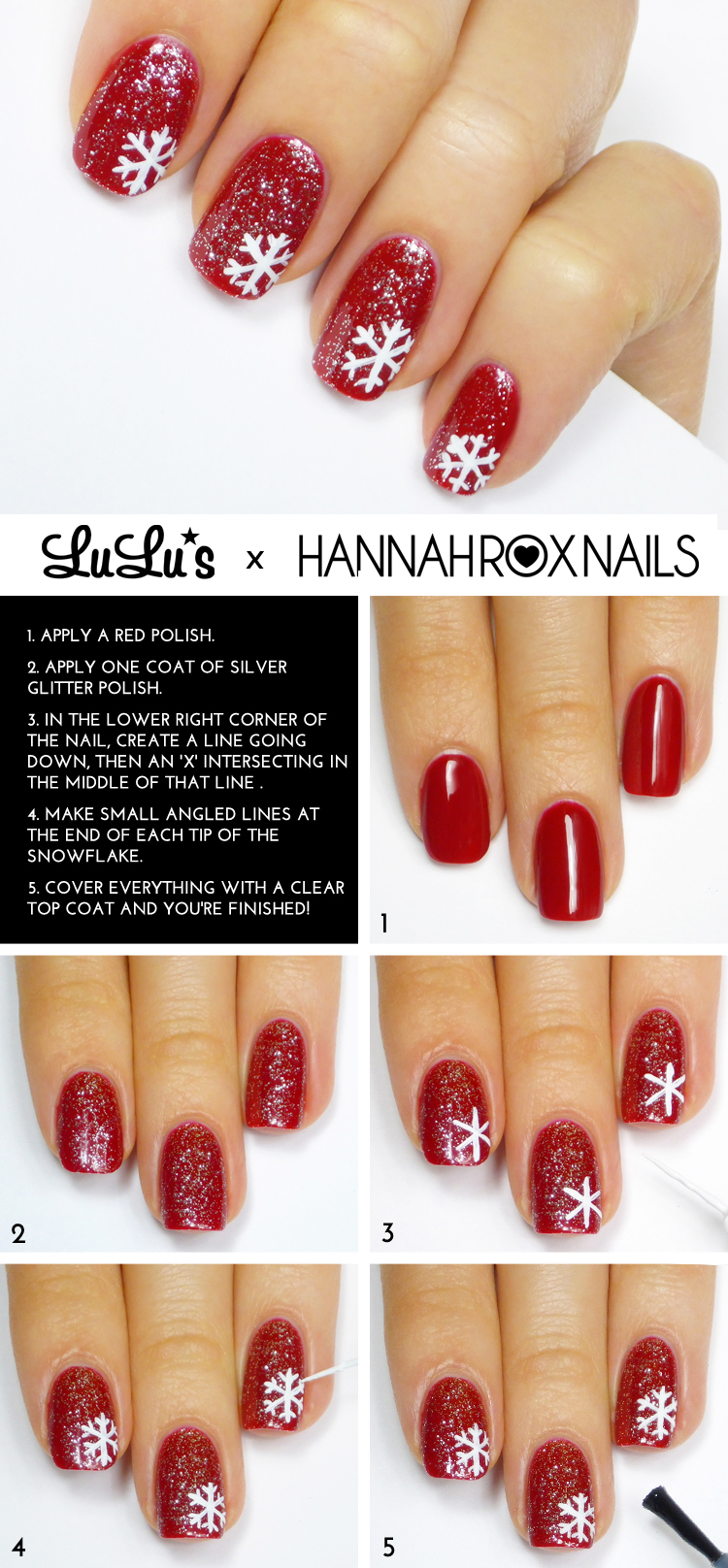 Mani Monday: Red Glitter Snowflake Nail Tutorial - Lulus.com Fashion ...