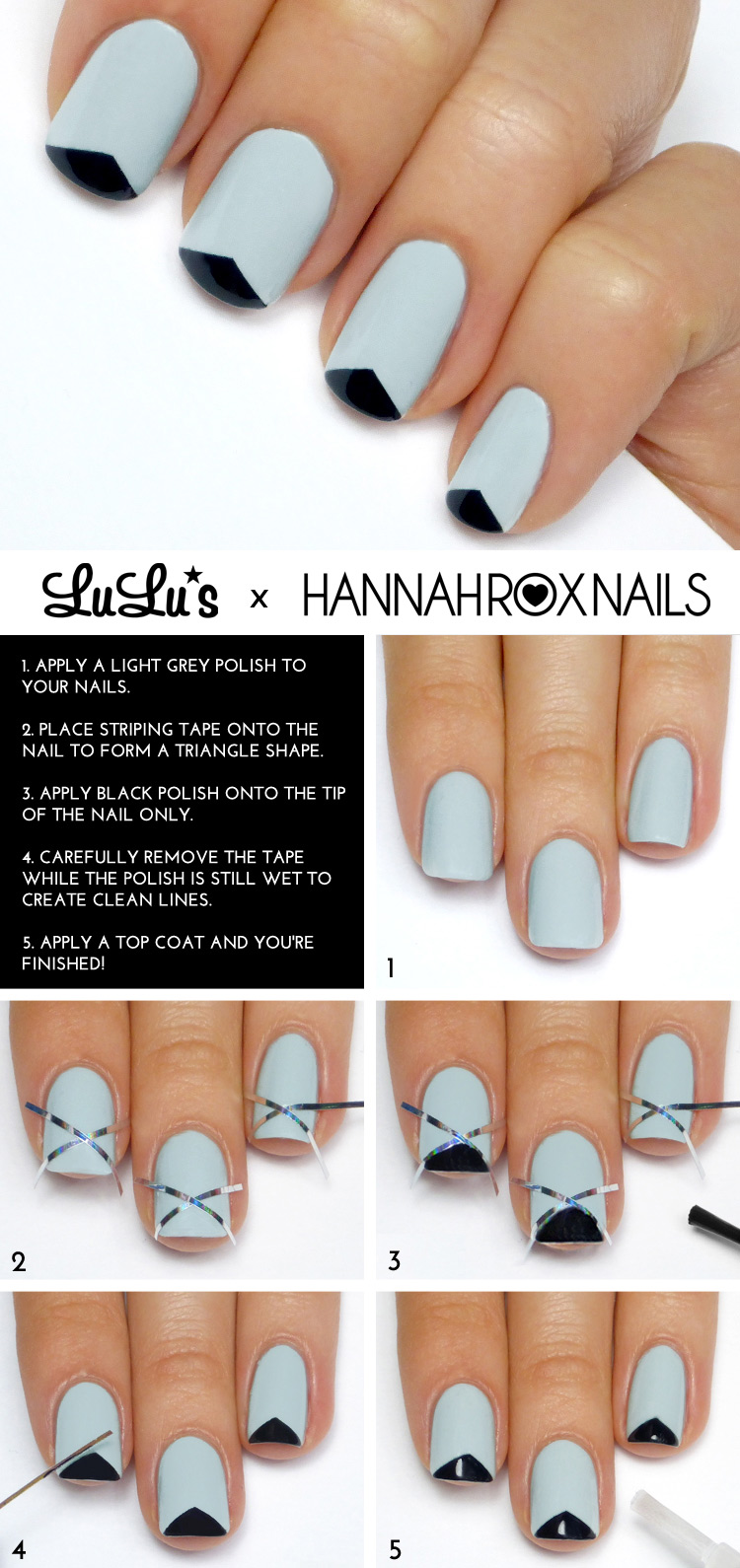 Mani Monday: Grey and Black Triangle Tip French Mani Tutorial ...