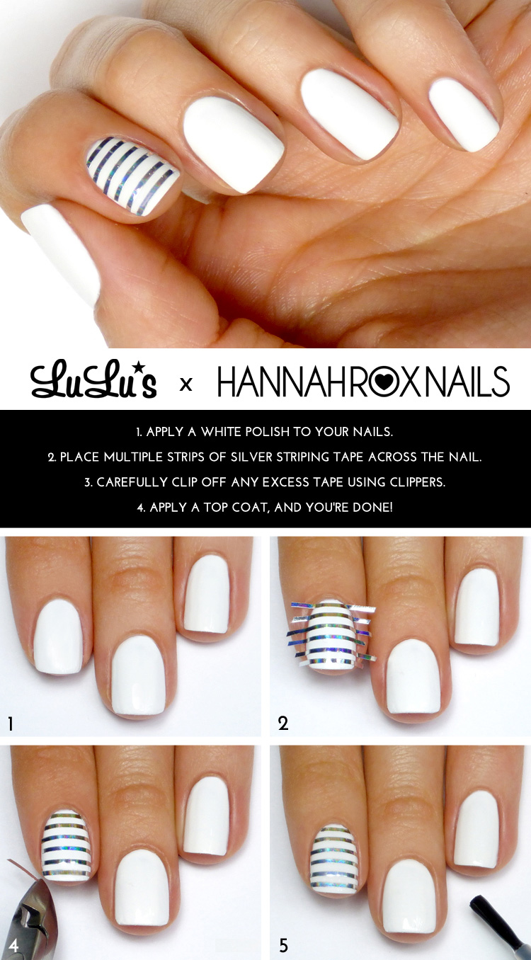 Mani Monday White And Silver Striped Accent Nail Tutorial At LuLus