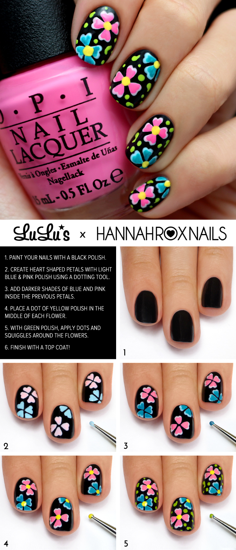 Mani Monday: Black Multi-Color Floral Mani Tutorial - Lulus.com ...