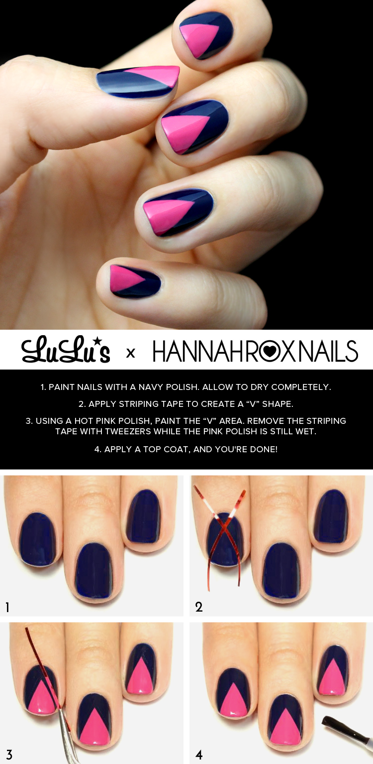 Mani Monday: Hot Pink and Navy Blue Chevron Nail Tutorial - Lulus ...