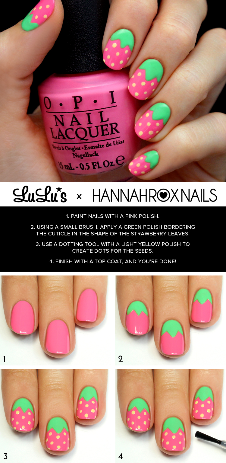 Mani Monday Pink Strawberry Nail Tutorial At LuLus