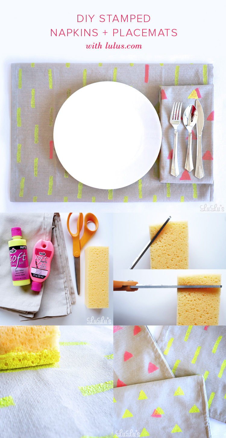 DIY Neon Stamped Napkins & Placemats