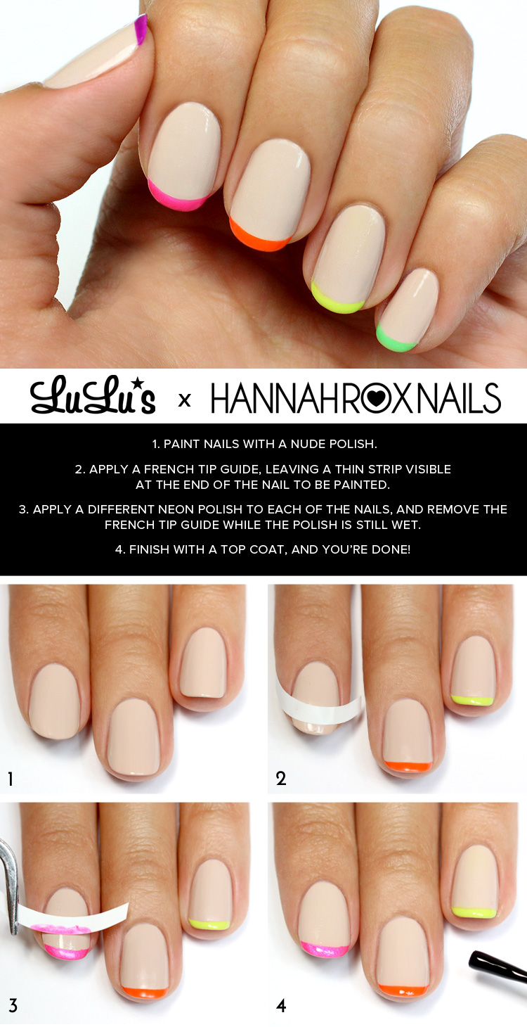 Mani Monday: Nude and Neon French Tips Nail Tutorial - Lulus.com ...