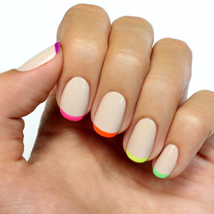 Neon French Tip Nail Designs: Mani Monday: Nude And Neon French Tips Nail Tutorial