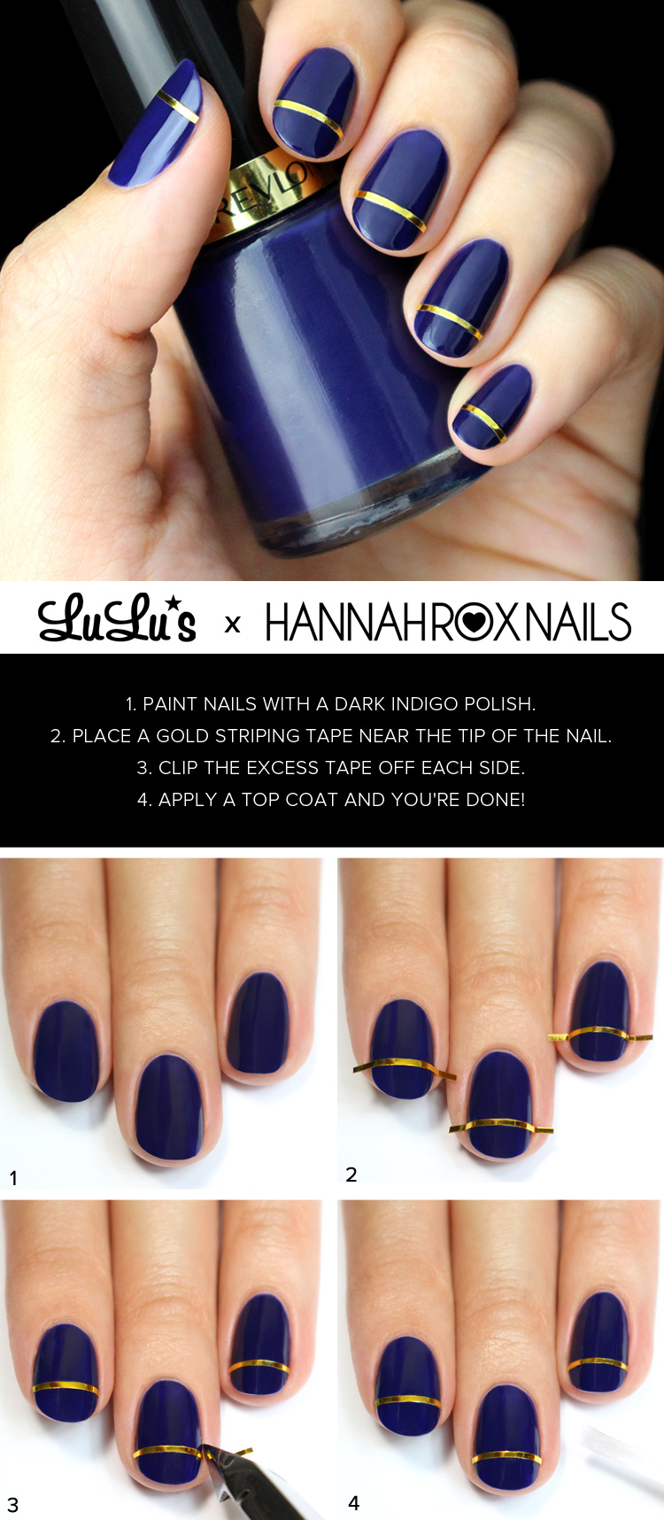Mani Monday Indigo Blue And Gold Striped Nail Tutorial Lulus