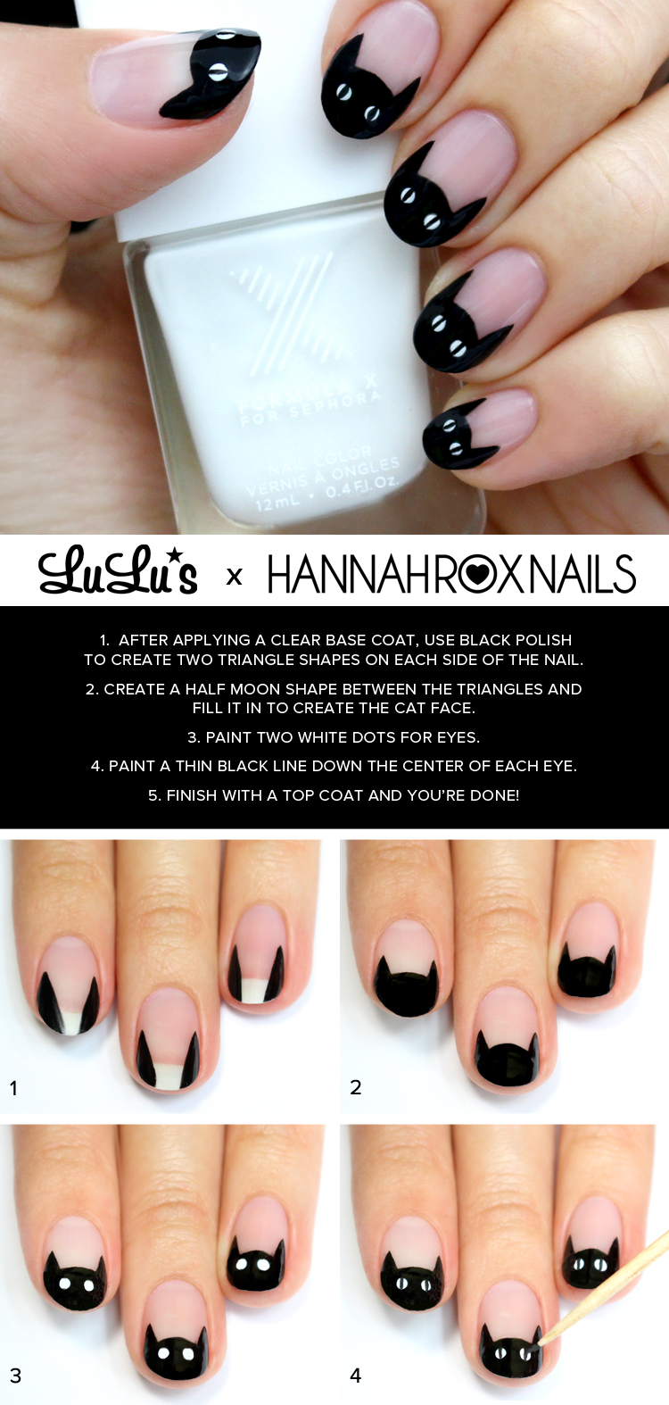 Mani Monday Black Cat French Nail Tutorial Lulus Fashion Blog