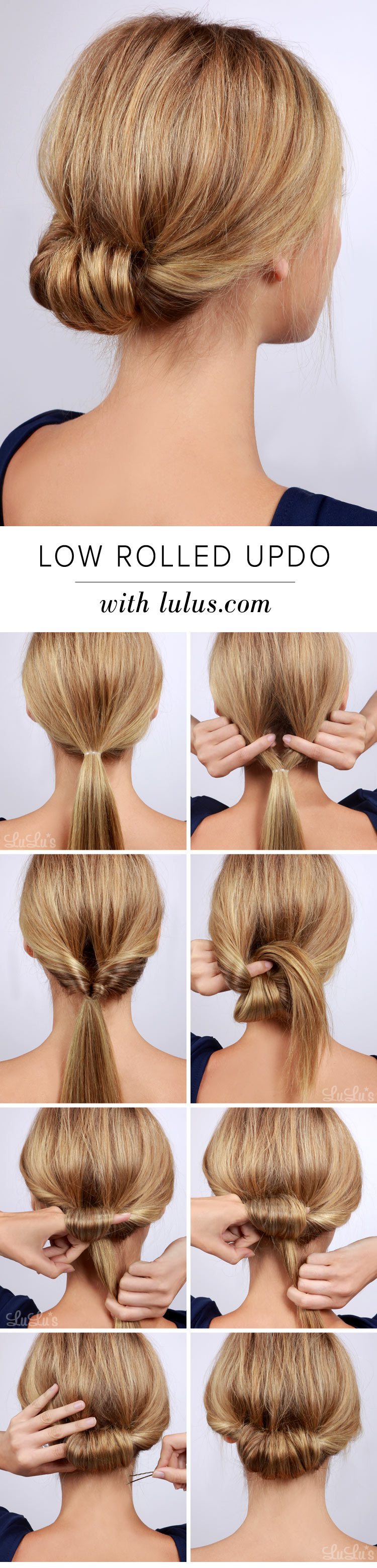 Lulus How To Low Rolled Updo Hair Tutorial Lulus Com Fashion Blog