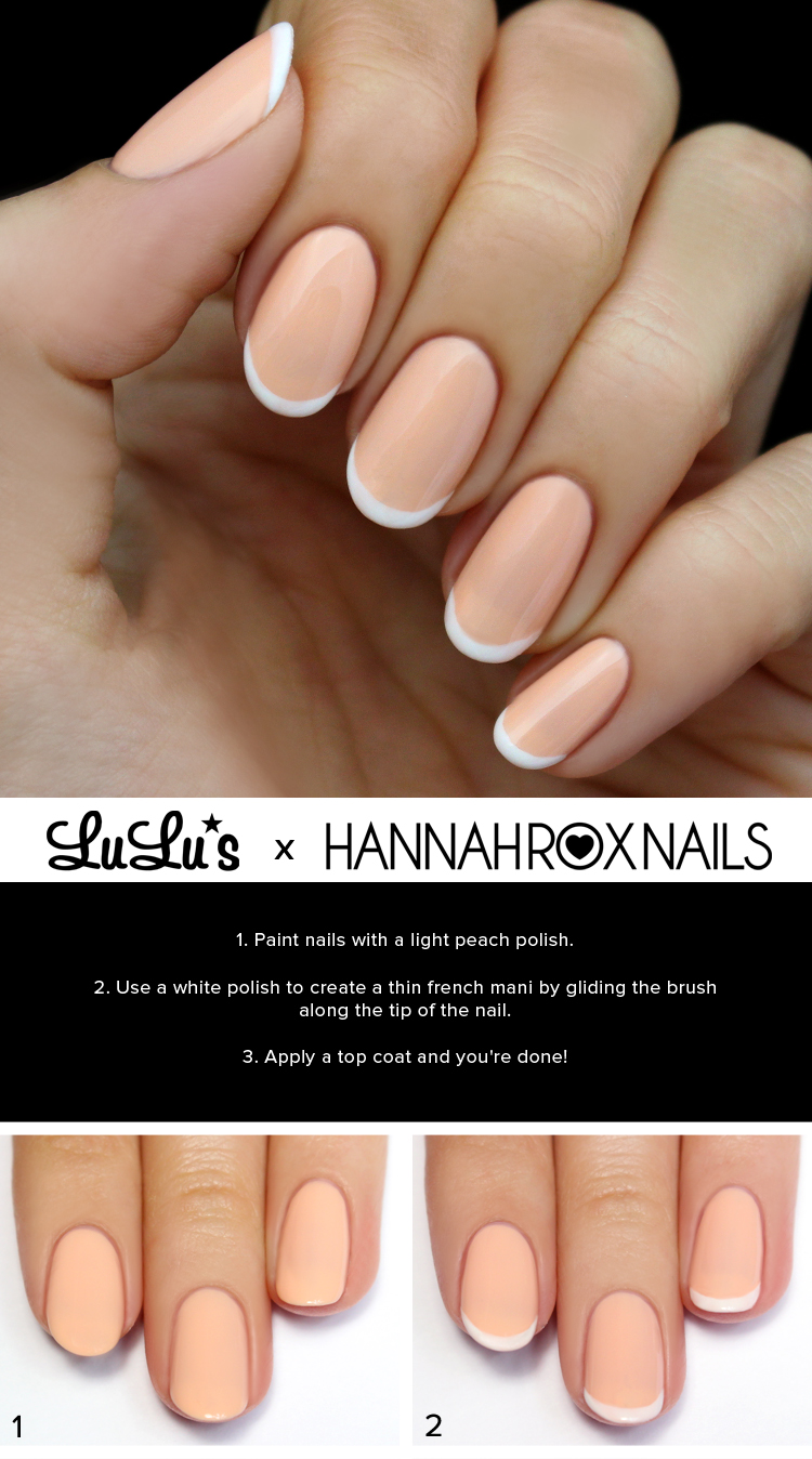 Mani Monday: Peach and White French Nail Tutorial - Lulus.com ...