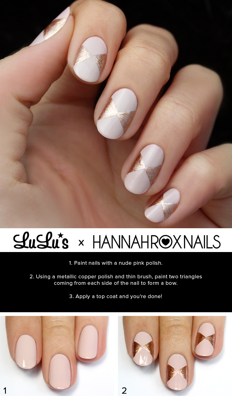 Mani Monday: Pink and Rose Gold Bow Nail Tutorial - Lulus.com ...