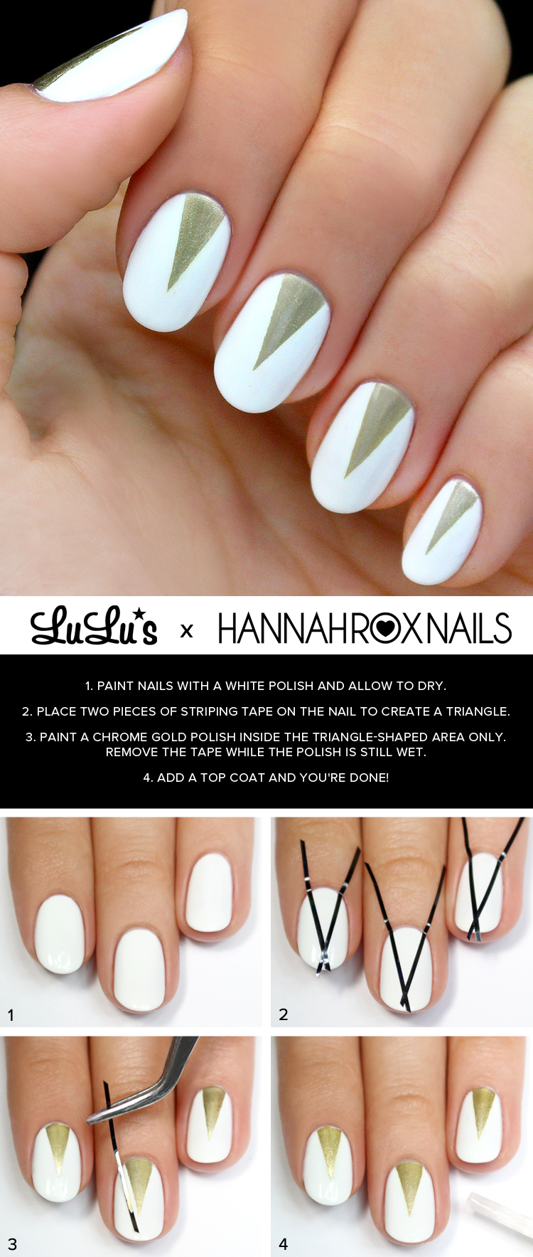 white and gold triangle nail