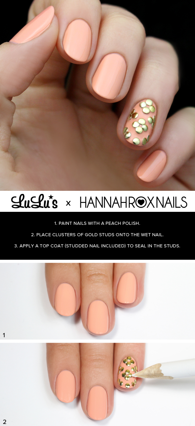peach and gold studded