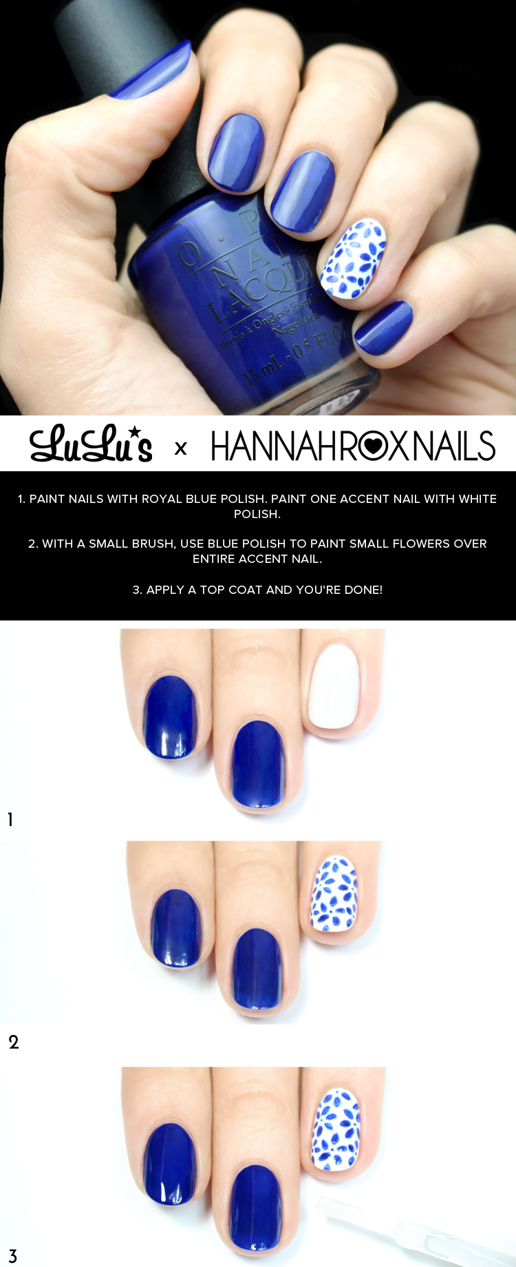 White and Blue Floral Nail