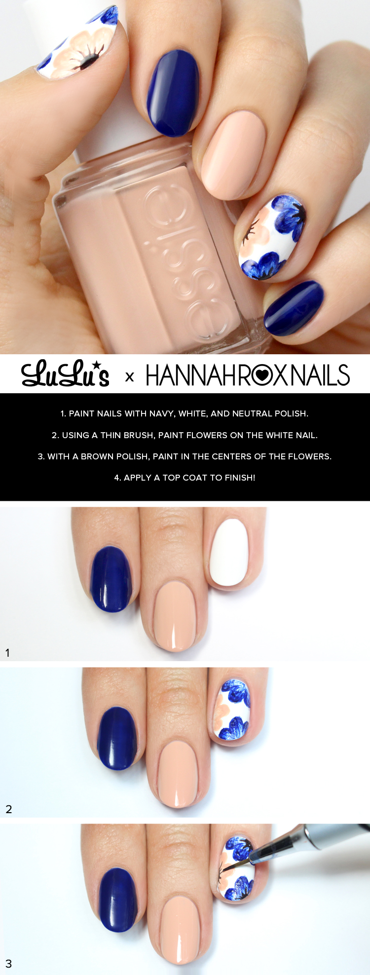 Mani Monday: Nude and Navy Blue Floral Nail Tutorial - Lulus.com ...