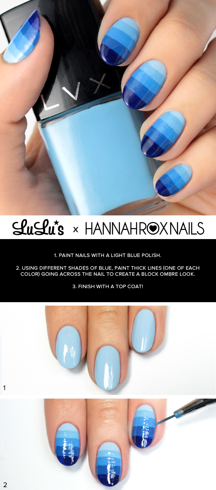 blue ombre nail