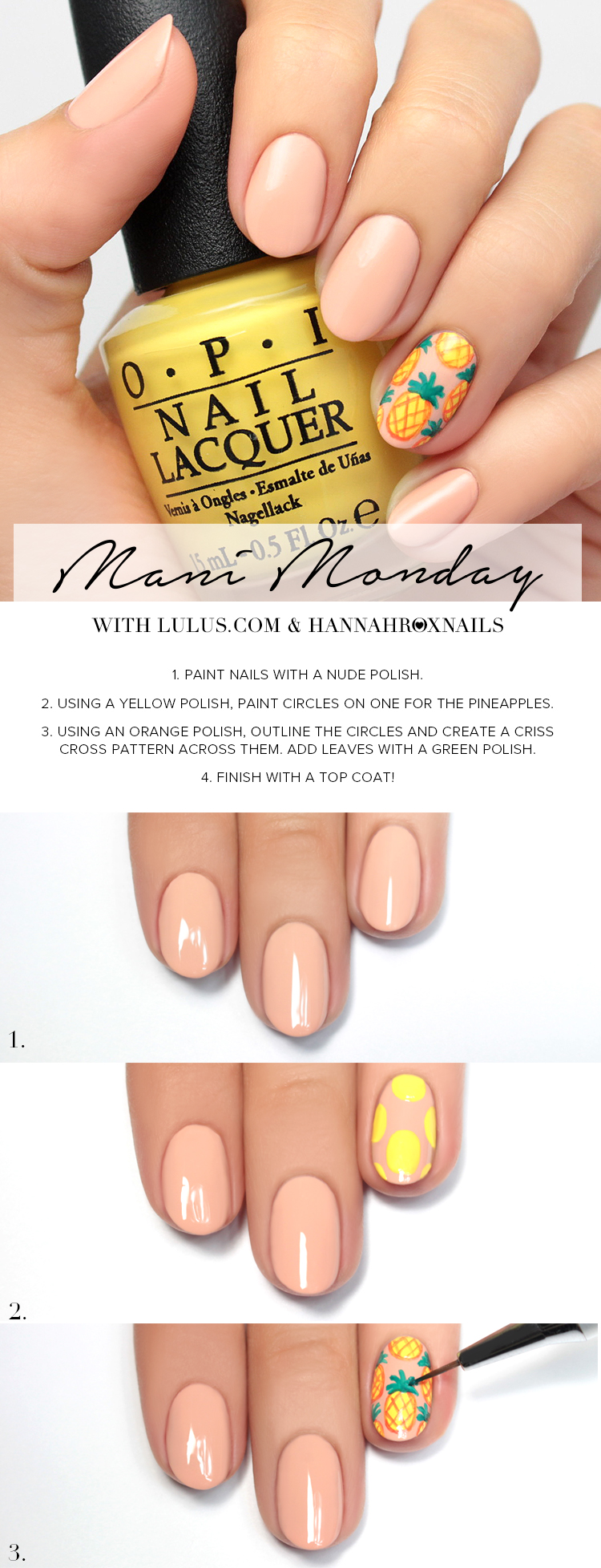 Nude with Pineapple Accent Nail