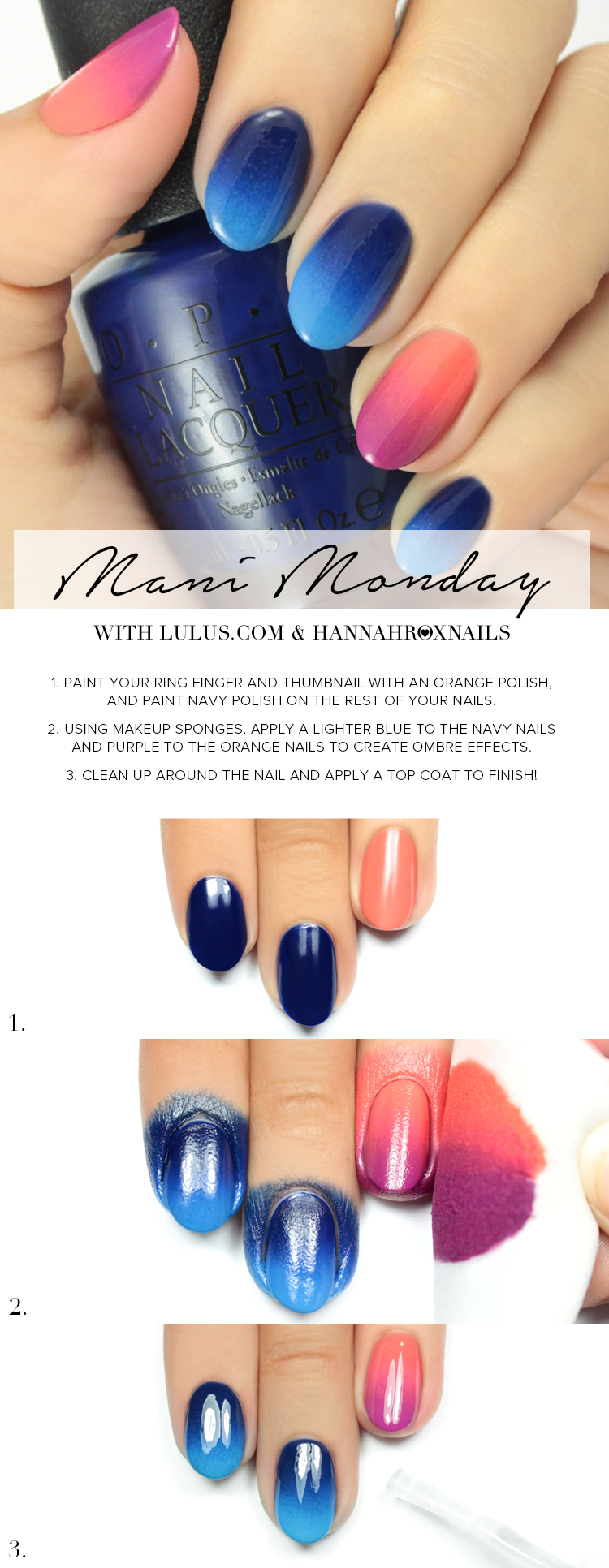 Mani Monday: Pink and Blue Ombre Nail Tutorial - Lulus.com Fashion Blog