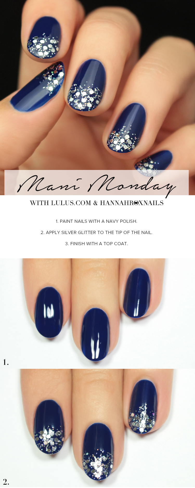 Mani Monday: Navy Blue and Silver Glitter Nail Tutorial - Lulus.com ...