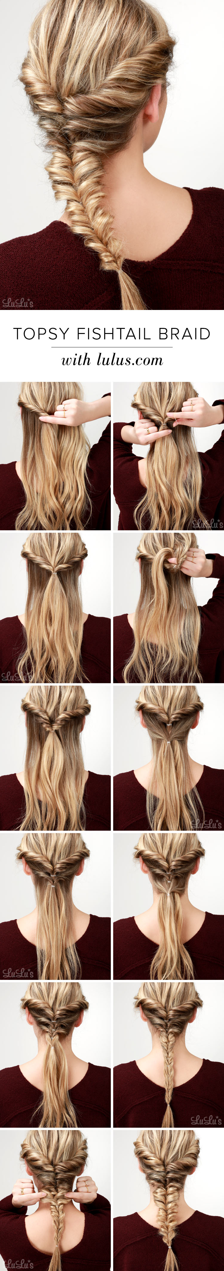 Lulus How To Topsy Fishtail Braid Tutorial Fashion Blog