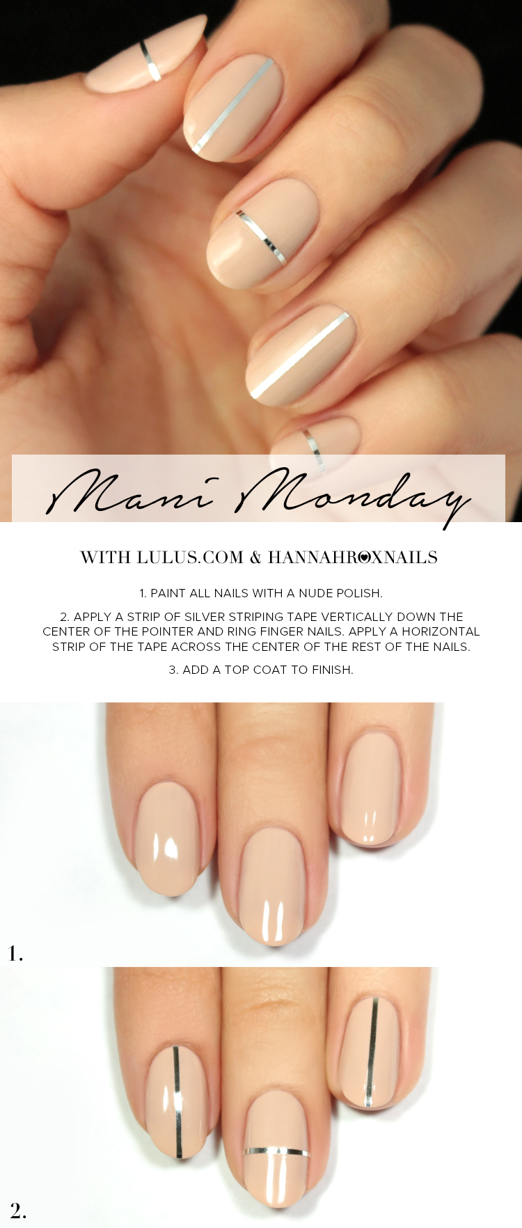 nude and silver striped nail