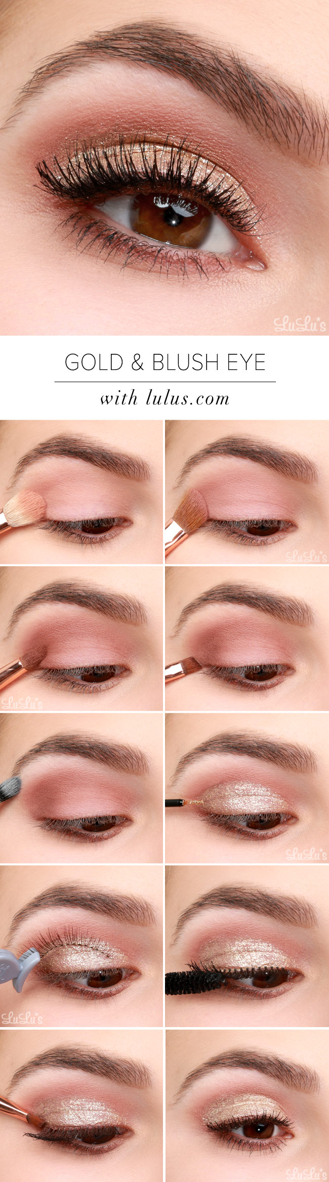 Lulus How To Gold And Blush Valentines Day Eye Makeup Tutorial