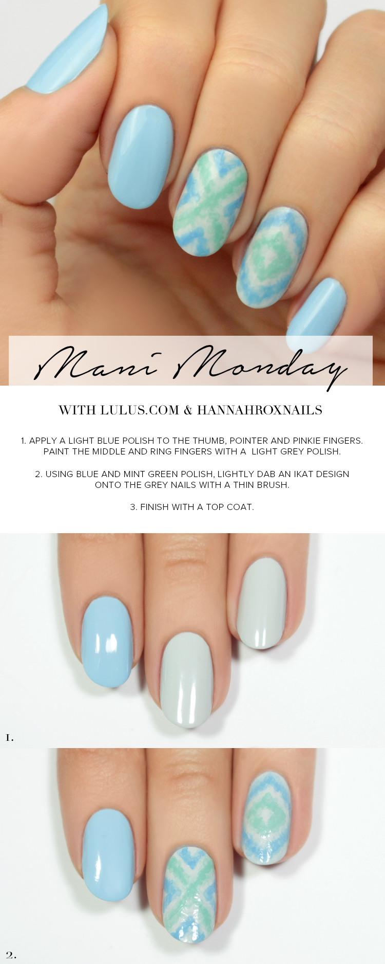 Mani Monday: Blue Ikat Nail Tutorial - Lulus.com Fashion Blog