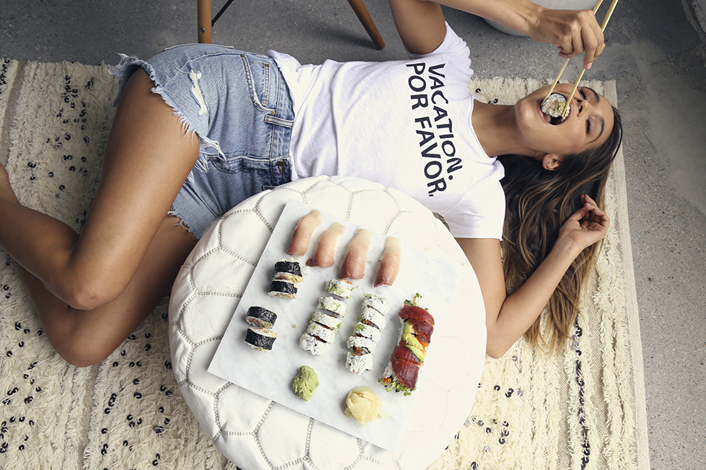 Model Moment: Anna Herrin eats sushi