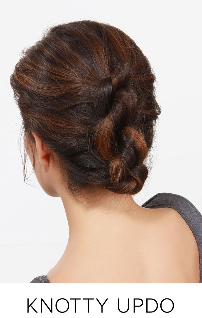 holiday hair - knotty updo
