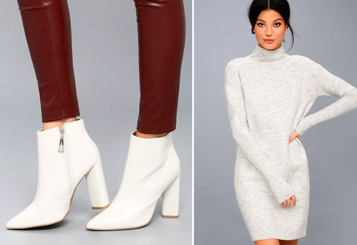 sweater dresses - white boots and soft turtleneck