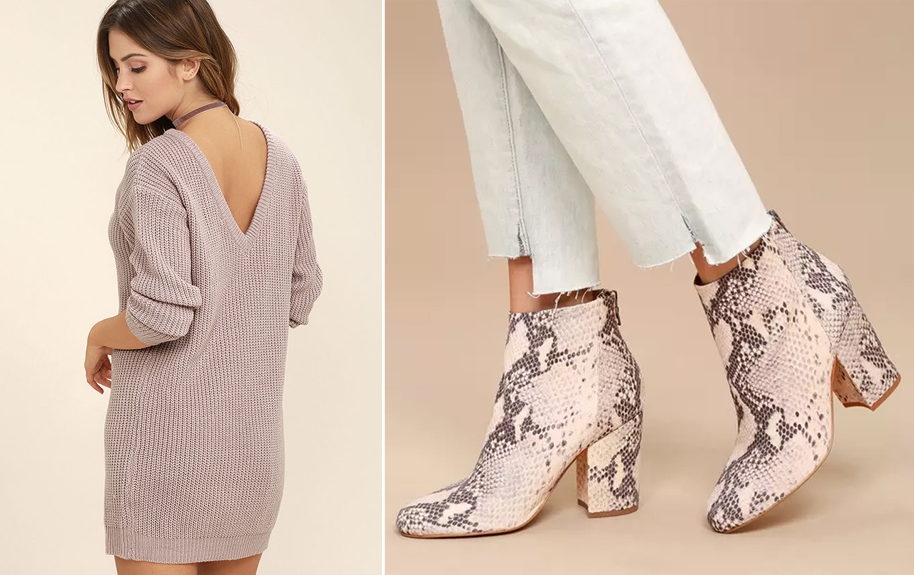sweater dresses - mauve and snakeskin