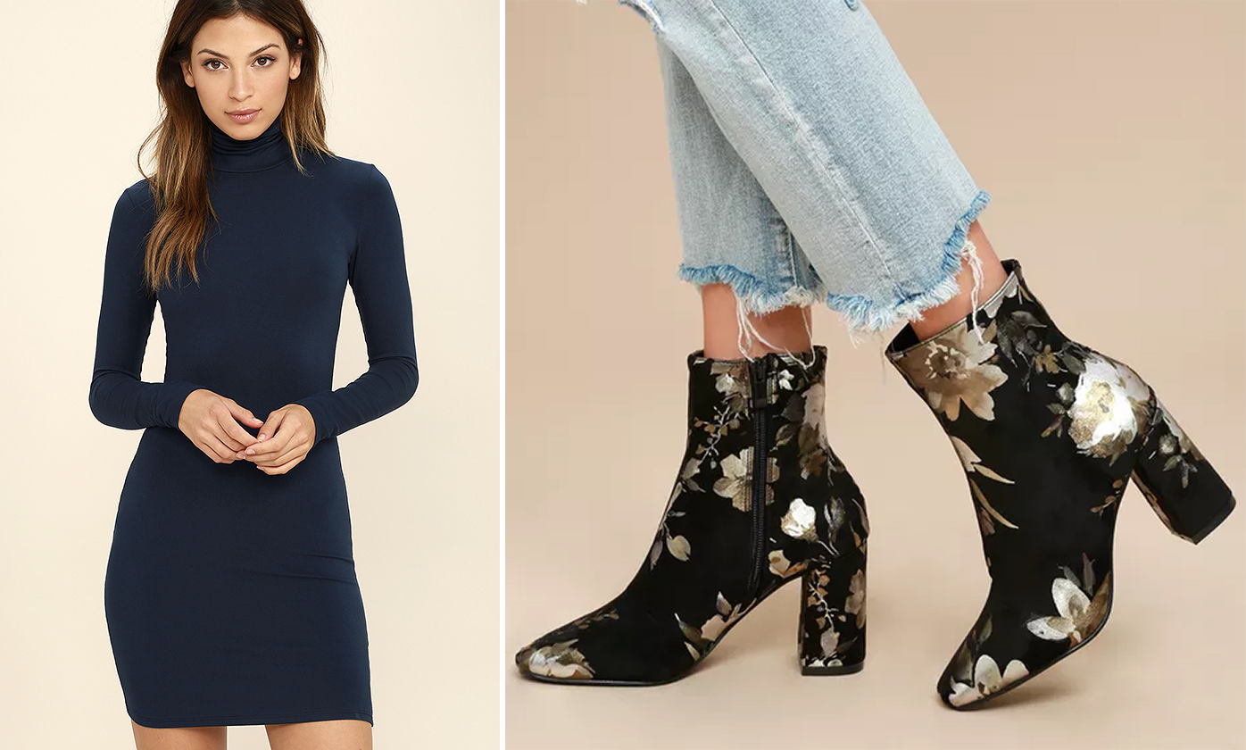 sweater dresses - bodycon and printed boots