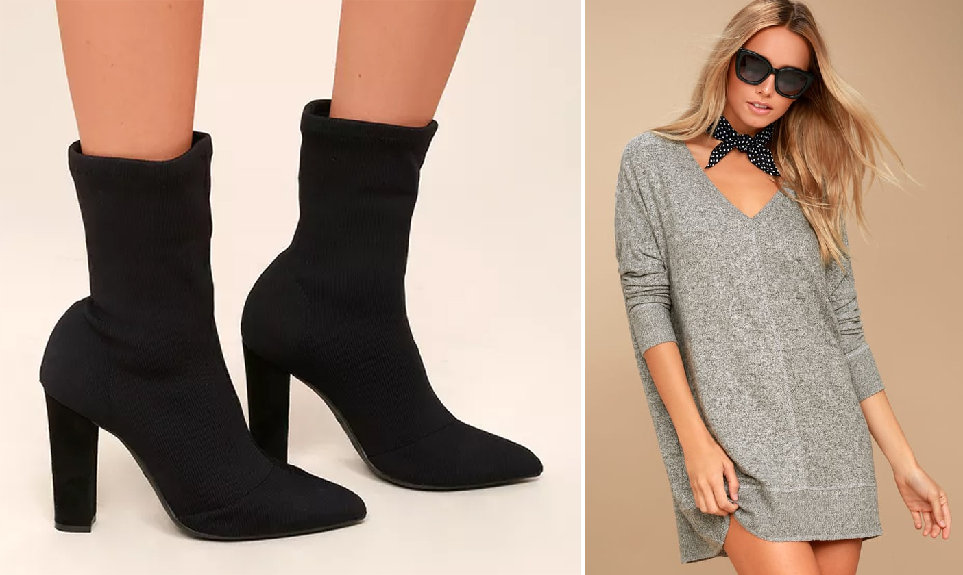 sweater dresses - v-neck and sock booties