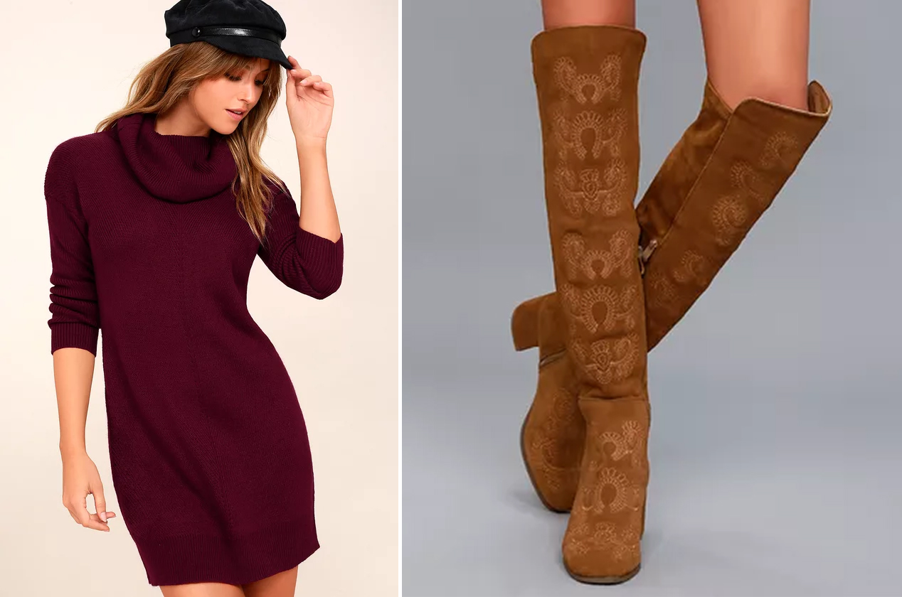 sweater dresses - burgundy and embroidery