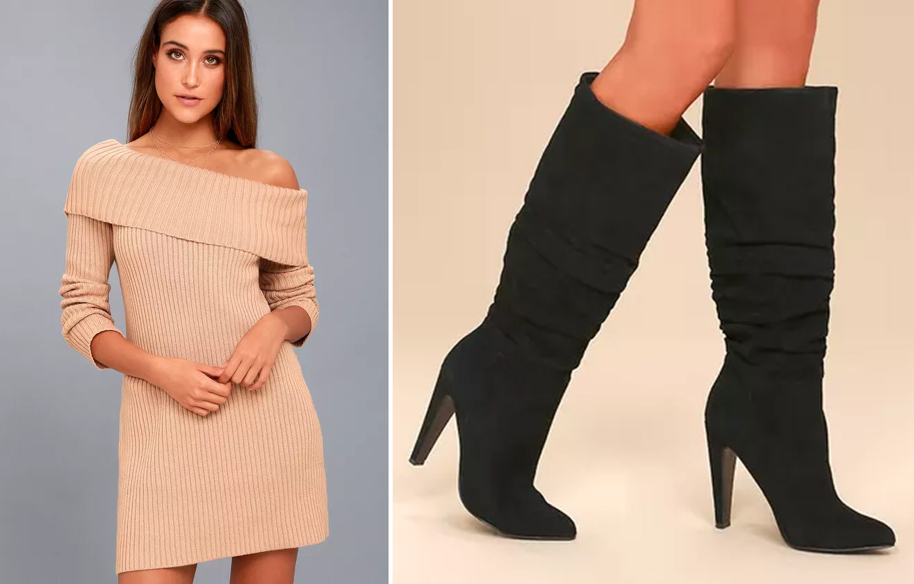 sweater dresses - off the shoulder and slouch boots