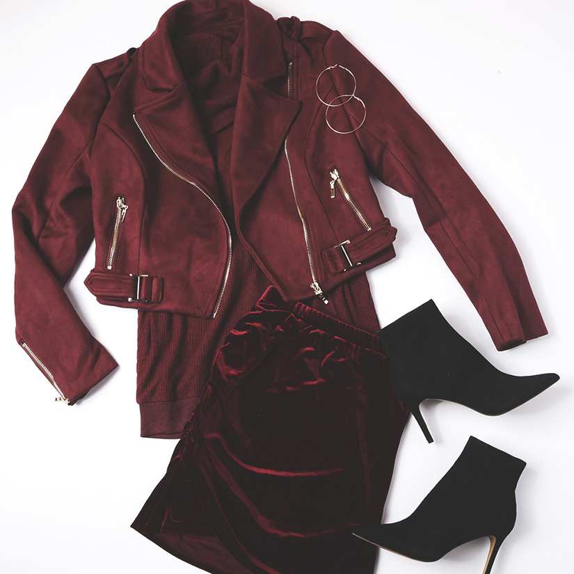monochromatic outfits - burgundy