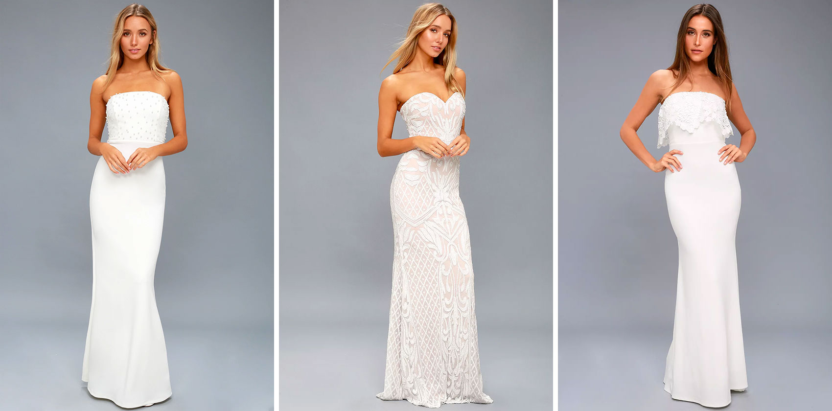 Strapless Bridal Gowns Will Always Be A Stunning Classic In Our Eyes It's The Perfect Cut To Pair With Any Necklace Or Jewelry If More Polished Look Is: Lulus Beaded Bodice Wedding Dress At Websimilar.org