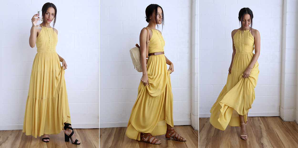 summer dresses 3 ways - yellow maxi