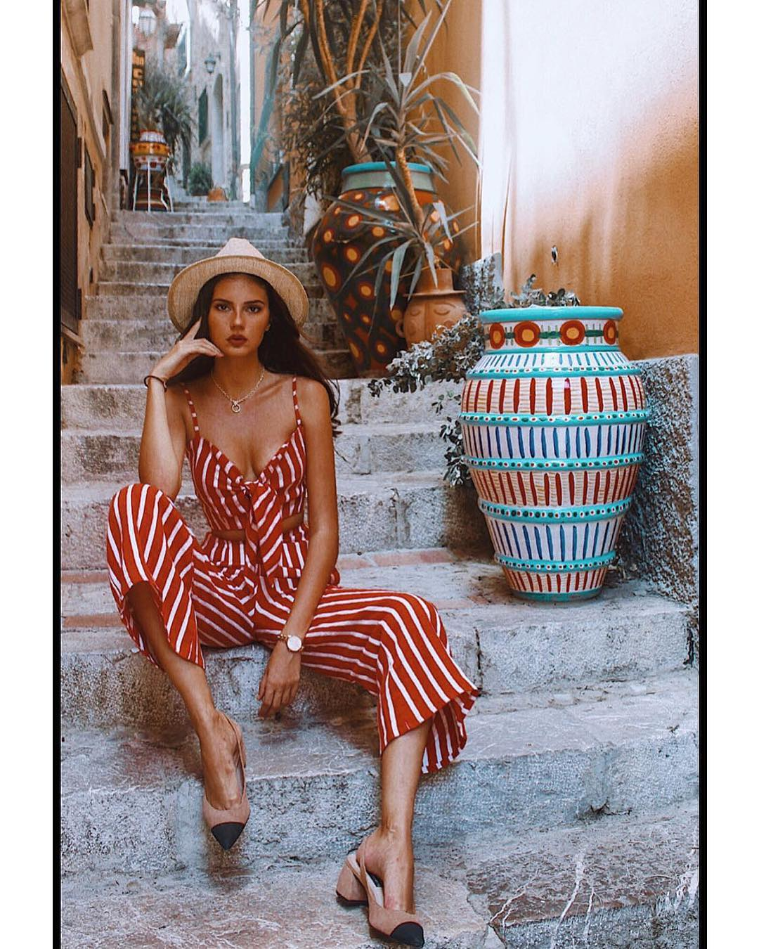 paola cossentino red striped outfit