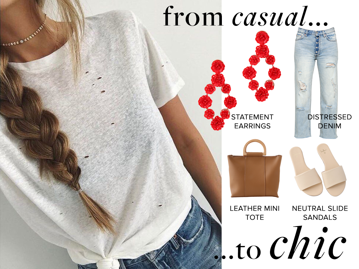 casual outfit with chic statement earrings