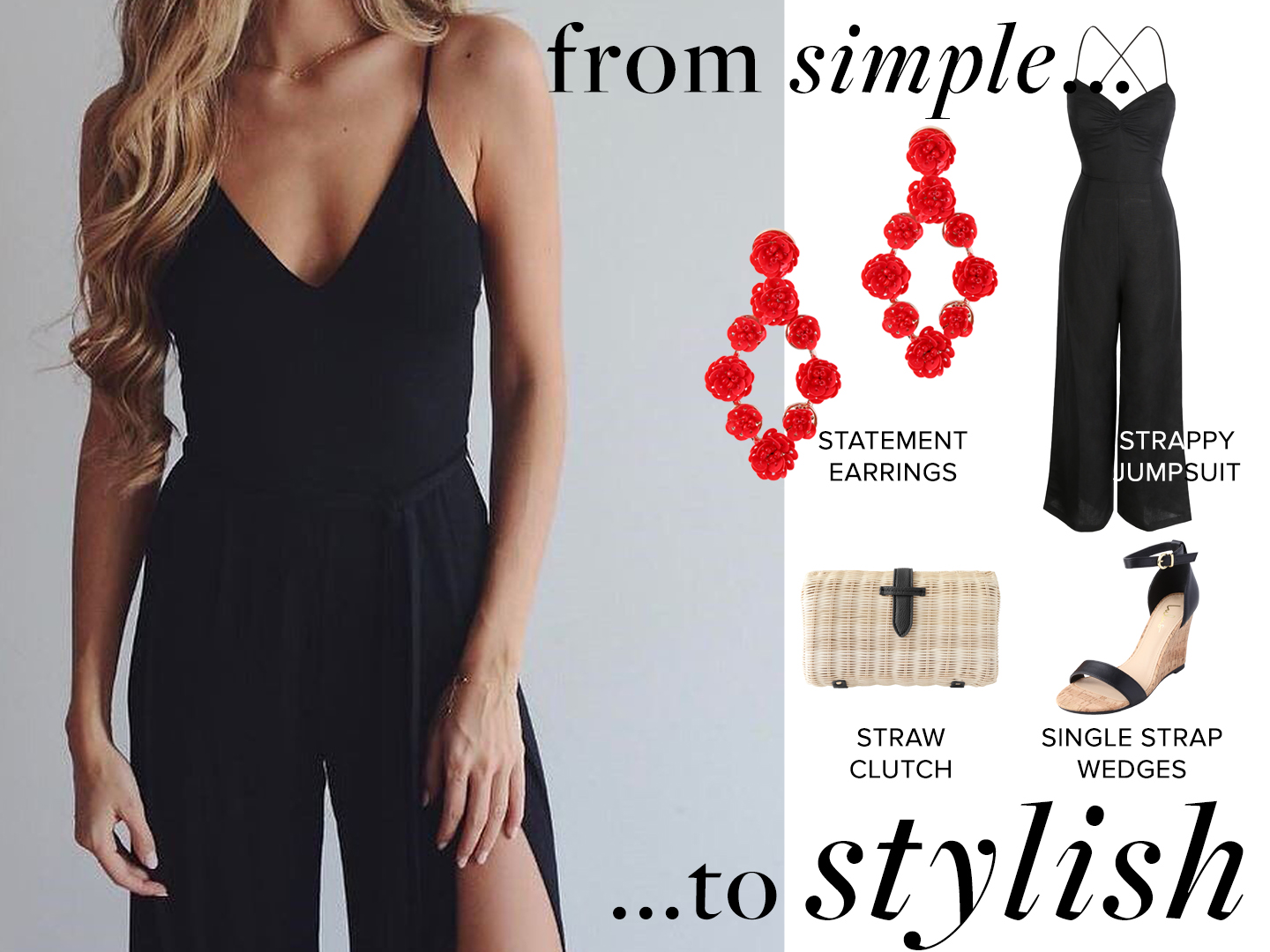 stylish jumpsuit outfit with statement earrings
