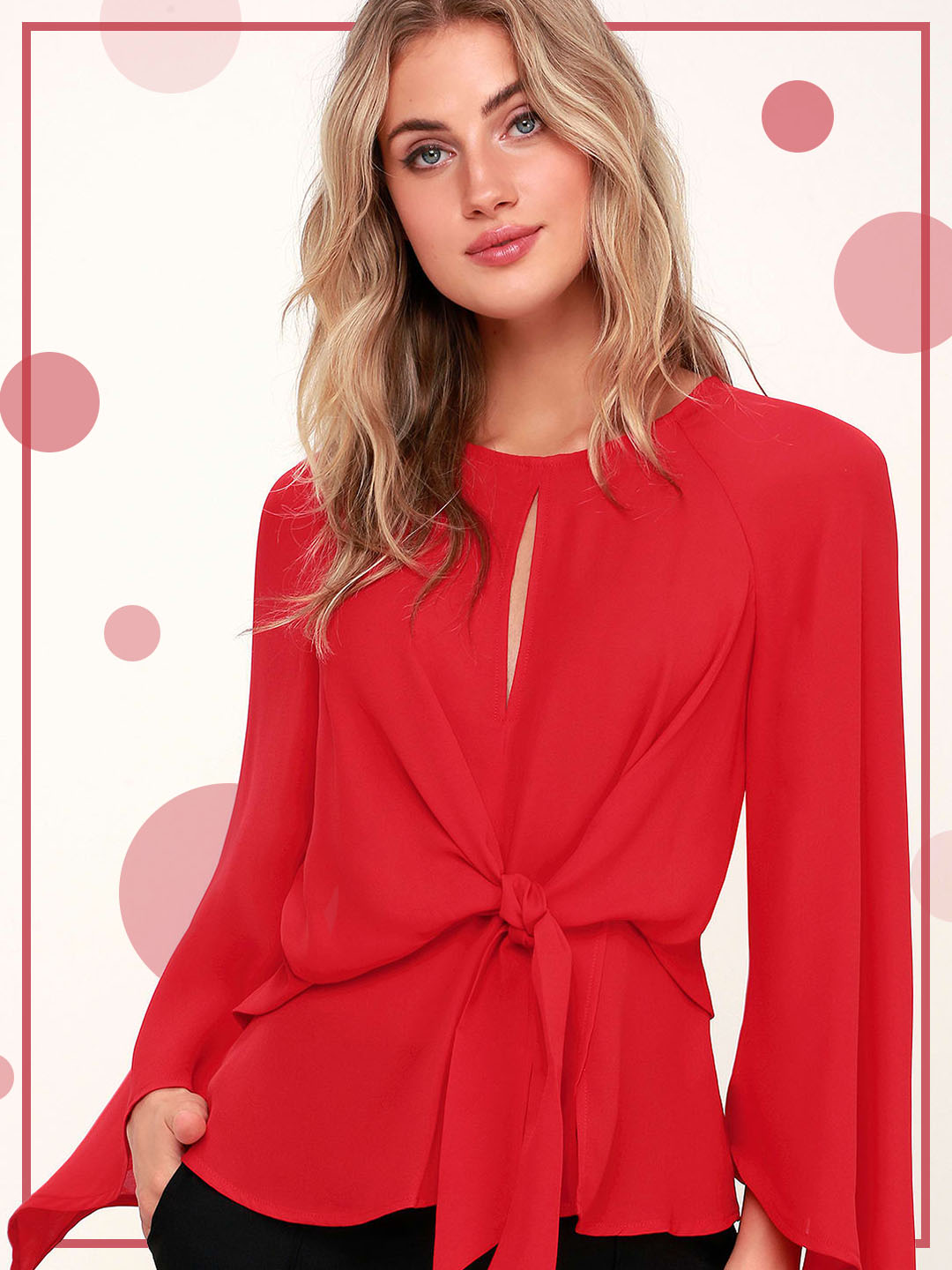 wear a red blouse for fall