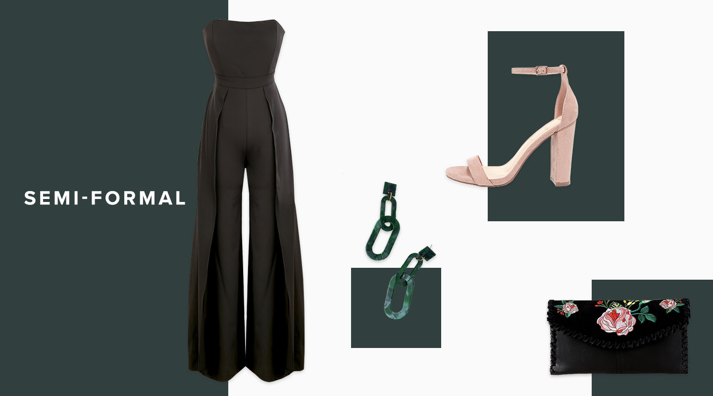 how to wear a jumpsuit to a semi-formal wedding