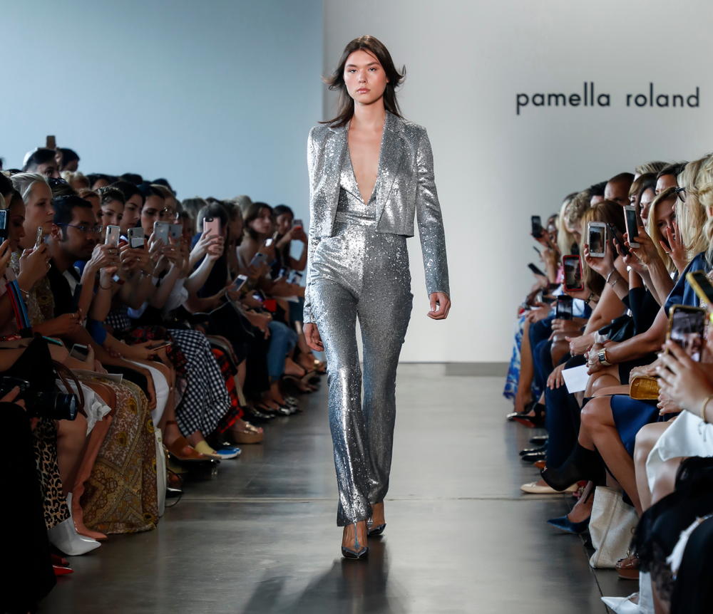 pamella roland sequin suit from ss19 runway