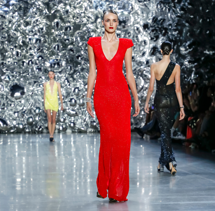 naeem khan red dress from the 2019 spring/summer runway at new york fashion week